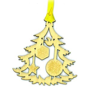 Crystal Delight by Mascot Souvenir Laser Cut Pressed Wood Christmas Tree w/Dove Ornament or Bookmark (Set of 6)