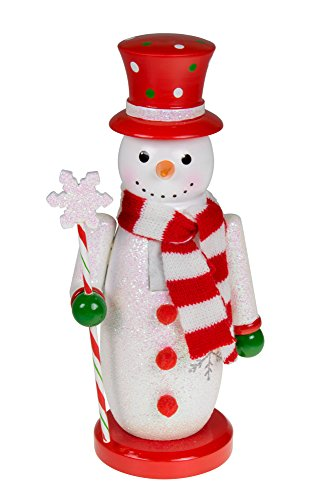 Traditional Snowman Wooden Nutcracker Decoration by Clever Creations | Red, White, and Green with Hat, Scarf, and Scepter | Premium Festive Christmas Decor | 10″ Tall Perfect for Shelves and Tables…