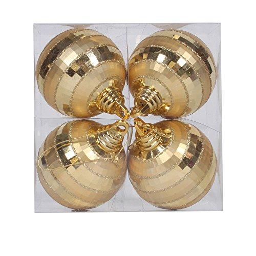 Vickerman Shiny-Matte Finish with Glitter Accents Christmas Mirror Ball Ornaments, 4 per Box, 4″, Gold