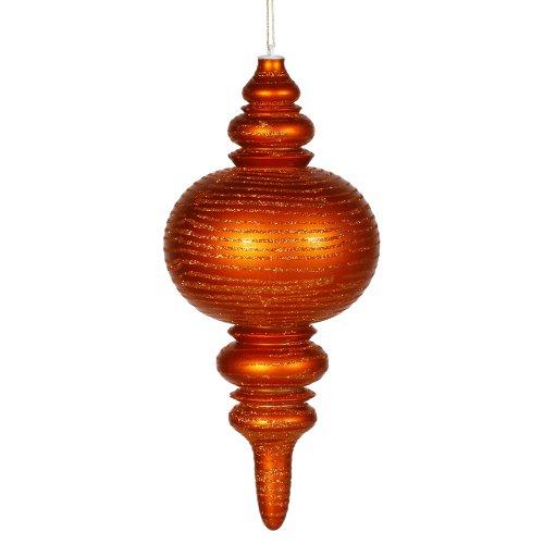 Vickerman Glitter Accented Matte Finish Shatterproof Finial Christmas Ornament, 13″, Burnish Orange