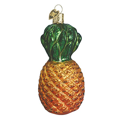Old World Christmas Glass Blown Ornament with S-Hook and Gift Box, Fruit Collection (Pineapple)