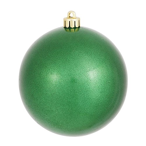 Vickerman Candy Finish Seamless Shatterproof Christmas Ball Ornament, UV Resistant with Drilled Cap, 12 per Bag, 3″, Green