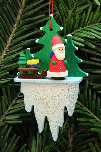 Tree Ornament – Santa Claus with Sleigh on Icicle – 5,5×8,8 cm / 2.2×3.4 inch