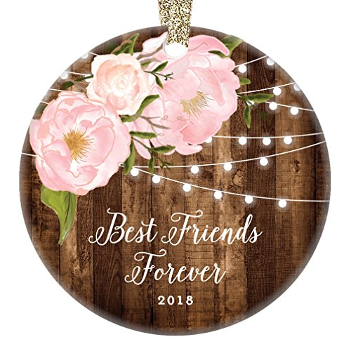 Rustic Friend Gifts for Her, Best Friends Forever Christmas Ornament 2018 Women Family Soul Sister Pink Peonies Xmas Farmhouse Collectible 3″ Flat Circle Porcelain with Gold Ribbon & Free Gift Box