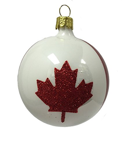 Red and White Canada Ball Czech Glass Christmas Ornament Canadian Maple Leaf