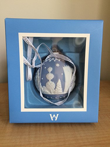 WEDGWOOD CHRISTMAS TREE ORNAMENT BLUE WITH WHITE TREES AND STARS NEW IN WEDGWOOD BOX