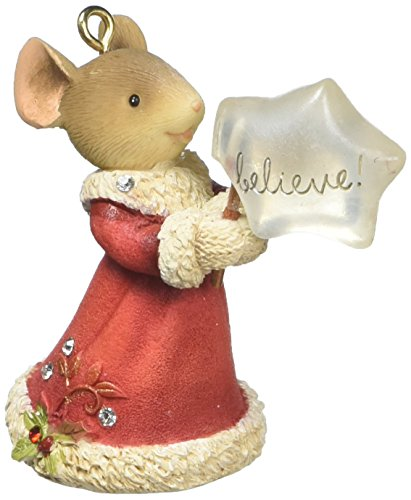"""Enesco Department 56 Heart of Christmas """"Mouse Believe"""" Stone Resin Hanging Ornament, 2.09"""""""