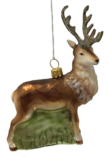 Male Buck Deer with Antlers Polish Glass Christmas Tree Ornament Wildlife Animal