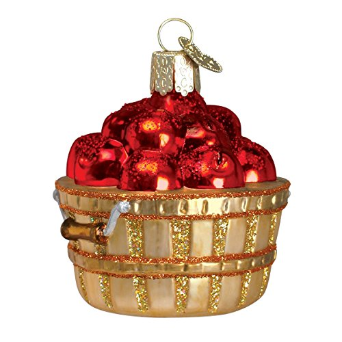 Old World Christmas Glass Blown Ornament with S-Hook and Gift Box, Fruit Collection (Apple Basket)