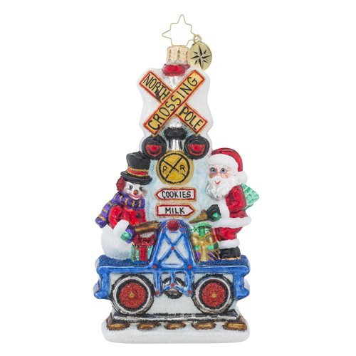 Christopher Radko It Takes Two Santa Claus and Transportation Christmas Ornament
