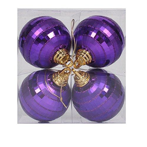 Vickerman M151406 Plastic Shiny Matte Mirror Ball with Matching Glitter in 4/Box, 4″, Purple