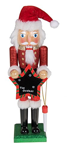 Traditional Christmas Wooden Santa Claus Blackboard Nutcracker by Clever Creations | Red and White Outfit Deisgn with Chalk and Black Chalkboard | 15″ Tall Perfect for Shelves and Tables