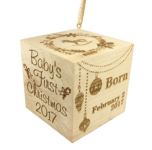 "Custom Engraved BIG Baby's First Christmas Ornament 2017 Wood Baby Block (2.5"")"