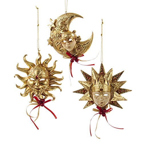 Kurt Adler 4.5″ Resin Venetian Sun Mask Ornament 3/asstd