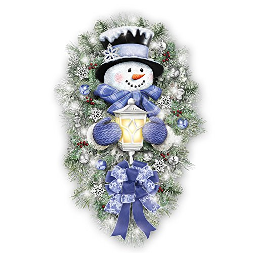 Thomas Kinkade A Warm Winter Welcome Holiday Snowman Wreath Lights Up: 2′ Tall by The Bradford Exchange