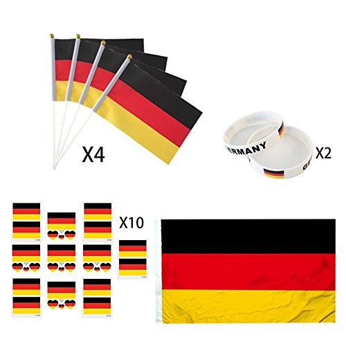 KingShark World Cup 2018 Set, Football Suit Fans Scarf, Germany, Hand Held Flags, Big National Flag, Tattoo Stickers, Silicone Wristbands, Party Club Bar Decorations Festival Celebration