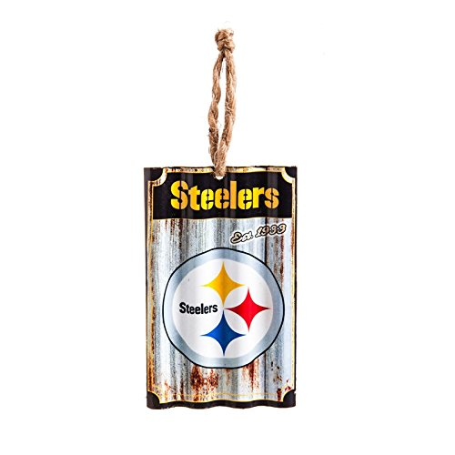Team Sports America Pittsburgh Steelers, Metal Corrugate Ornament, Set of 2
