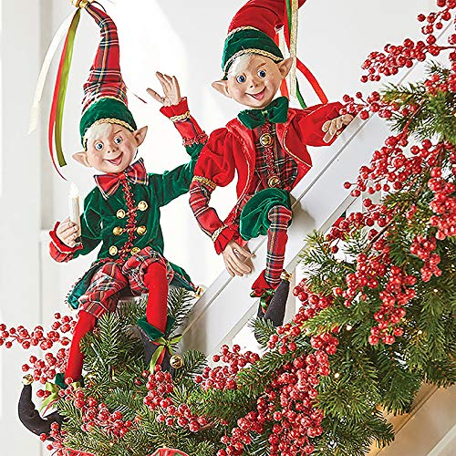 RAZ Imports SET OF 2 Raz 30″ Red and Green Plaid Posable Elves Christmas Figures 3802259