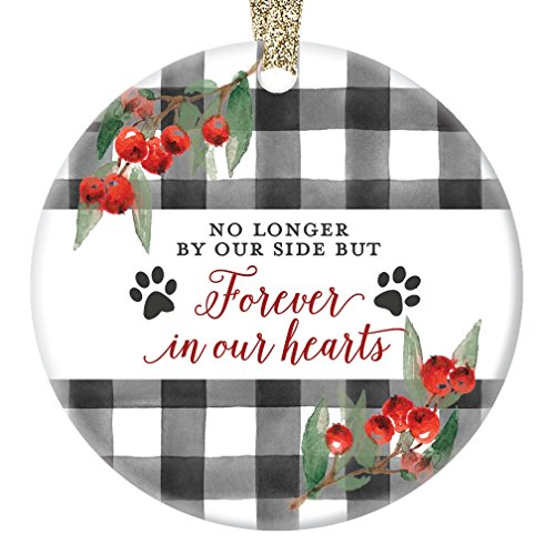 Forever In Our Hearts 2018 Ornament First 1st Christmas Beloved Dog Cat Pet Gone Holiday Ceramic Memorial for Family Relative Friend 3″ Flat Porcelain Collectible with Gold Ribbon & Free Gift Box