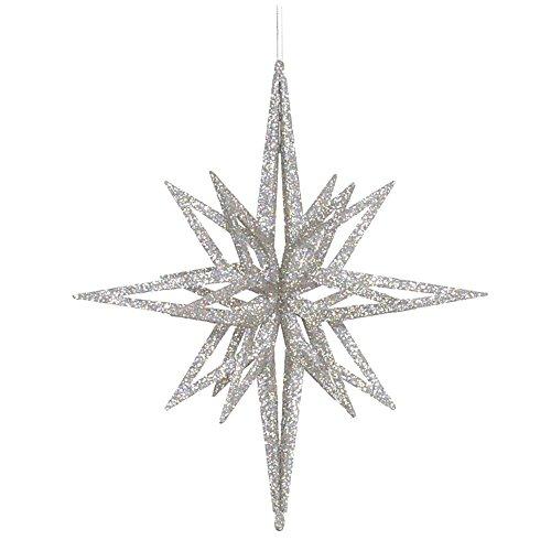 Vickerman 3D Star, 12″, Silver Glitter