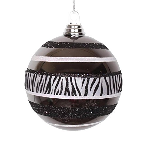Vickerman Diva Safari Zebra Print/Stripes Black and White Commercial Size Christmas Ball Ornament, 5.5″