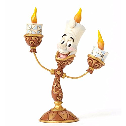 "Enesco Disney Traditions by Jim Shore ""Beauty and the Beast"" Lumiere Stone Resin Figurine, 4.75"""