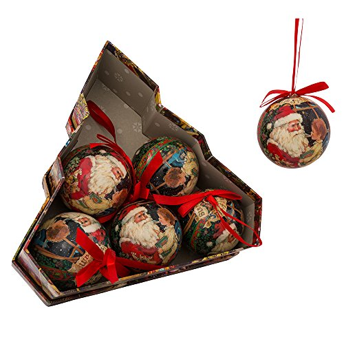 Kurt Adler 75mm Decoupage Christmas Ornament Set of 6