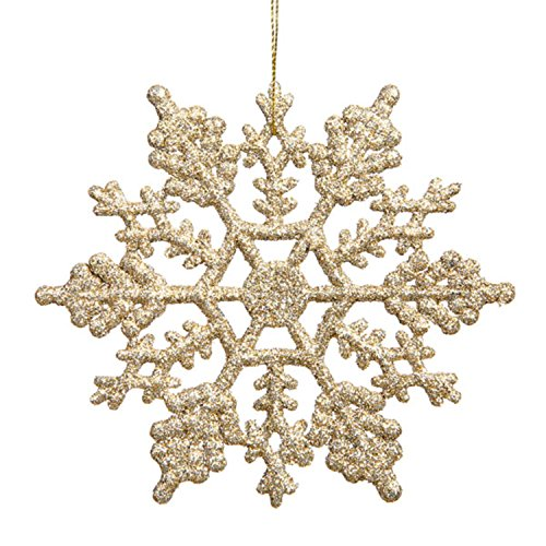 Club Pack of 24 Champagne Glitter Snowflake Christmas Ornaments 4″