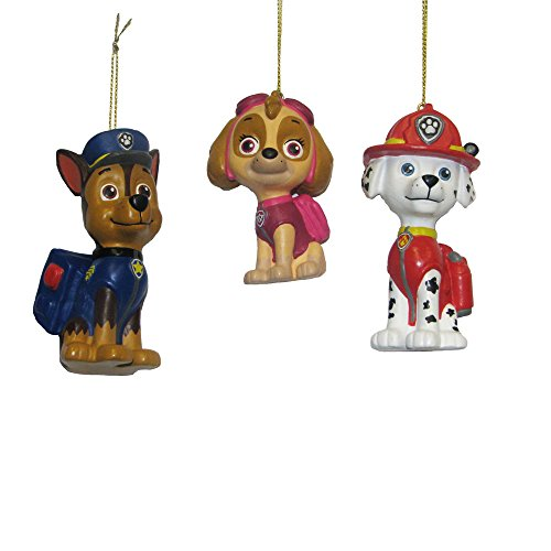 Nickelodeon Kurt Adler Paw Patrol Blow Mold Ornament (Set of 3), 3 to 3.5″