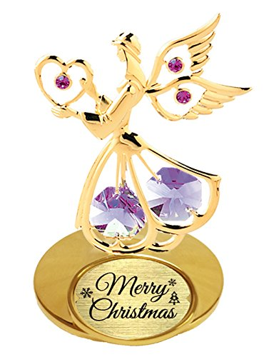 "24k Gold Plated – Angel with ""Merry Christmas"" logo tabletop decoration – Purple Swarovski Elements Crystal"