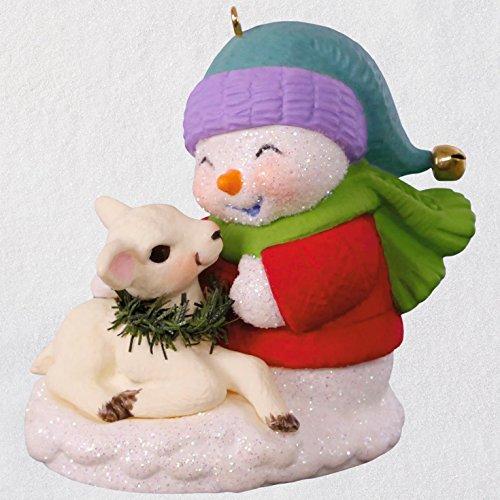 Hallmark Snow Buddies Snowman and Lamb Ornament keepsake-ornaments Snowmen,Animals & Nature
