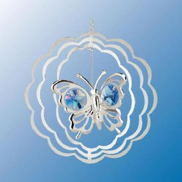 Chrome Plated Butterfly Circle Ornament – Blue – Swarovski Crystal