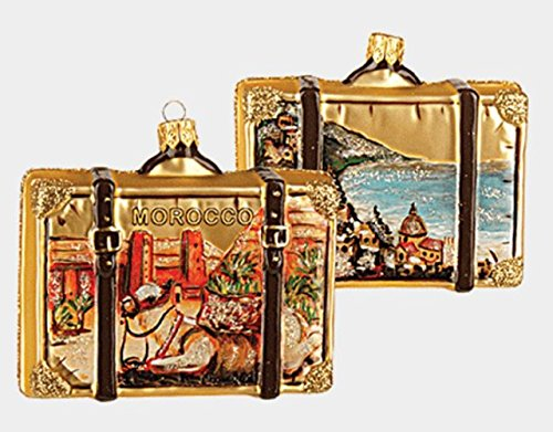 Pinnacle Peak Trading Company Morocco Travel Suitcase Polish Glass Christmas Ornament ONE Africa Decoration