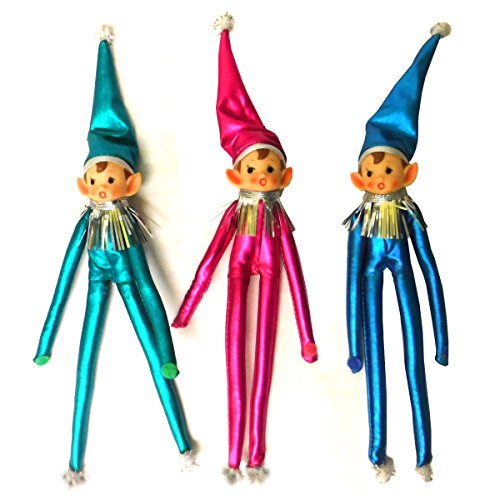 One Hundred 80 Degrees Vintage style elf Pixie Elves poseable Christmas Tree Decorations Ornaments – Set of 3