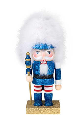 Soldier Nutcracker by Clever Creations | Blue Glitter Nutcracker with Tall White Hair | Perfect for Shelves and Tables | Collectable Festive Christmas Decor | 100% Real Wood | 10″ Tall