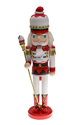 Candyland Strawberry King Nutcracker | Red and White Uniform with Strawberry Hat | Holding Cupcake Scepter | Festive Christmas Decor | Unique Addition for Any Collection | 100% Wood | 15″ Tall