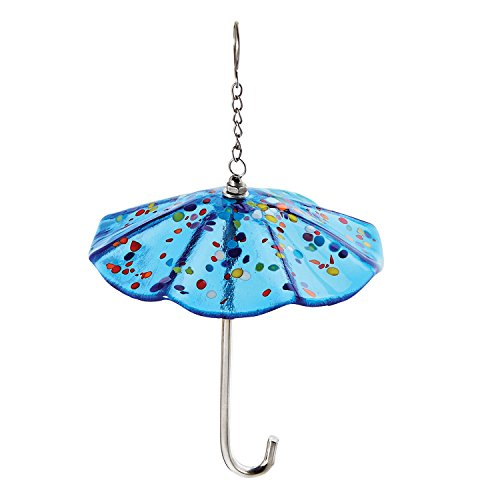 Glass Eye Studio Art Glass Umbrella Ornament – Blue Parasol with Mount Saint Helen's Glass Confetti Accents