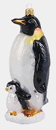 Pinnacle Peak Trading Company Emperor Penguin with Baby Polish Mouth Blown Glass Christmas Ornament
