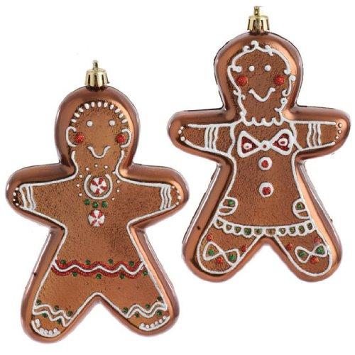 RAZ Gingerbread Boy & Gingerbread Girl Ornaments, Set of 2