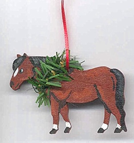 Hand-Painted SHETLAND PONY Horse Wood Christmas Ornament Artist Original