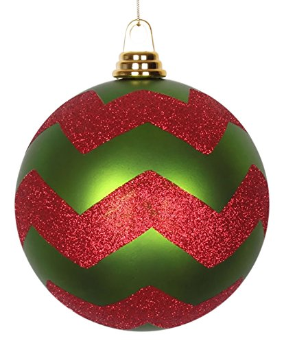 Vickerman Decorative Ball with Red Glitter, 150mm, Matte Lime Green
