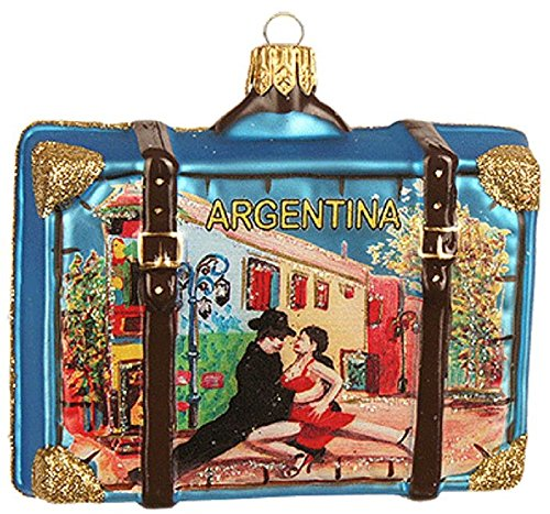 Pinnacle Peak Trading Company Argentina South America Travel Suitcase Polish Glass Christmas Ornament Dancers