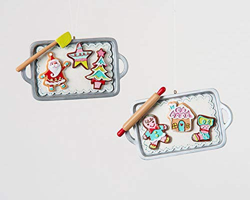 One Hundred 80 Degrees Gingerbread & Santa Cookie Tray Christmas Tree Ornaments Set of 2