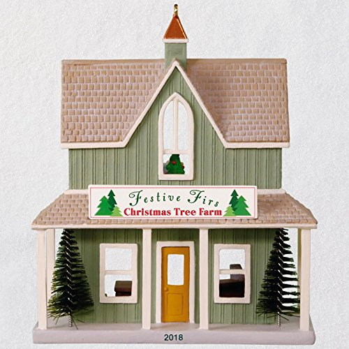 Hallmark Keepsake Christmas Ornament 2018 Year Dated, Nostalgic Houses and Shops Festive Firs Christmas Tree Farm