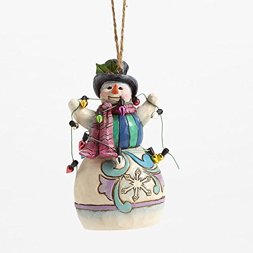 Enesco Jim Shore HWC Snowman Wrapped in Lights Ornament