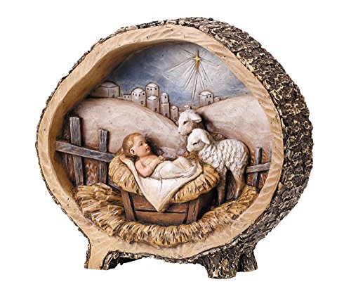 CB Gift Avalon Gallery Woodcut Figurine, Baby Jesus with Lambs