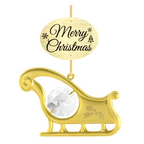 """24K Gold Plated Sledge with Logo """"Merry Christmas"""" Ornament with Clear Swarovski Crystal Element"""