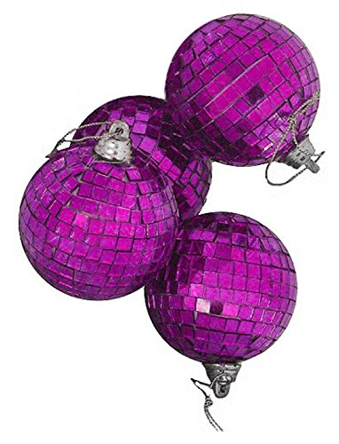 4ct Purple Mirrored Glass Disco Ball Christmas Ornaments 4″ (100mm)