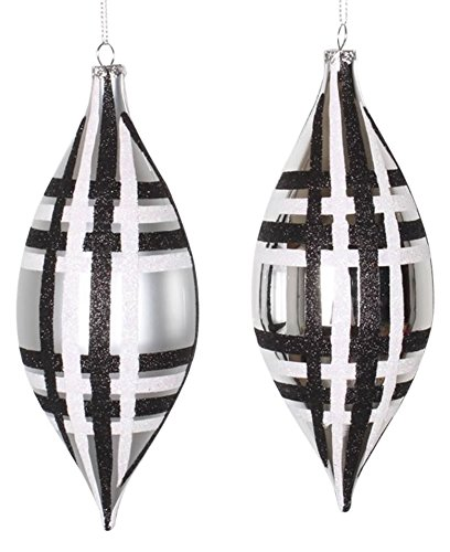 Vickerman 4ct Silver w/Black & White Glitter Plaid Shatterproof Christmas Finial Drop Ornaments 7″
