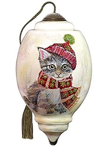 Ne'Qwa Art Hand Painted Blown Glass Winter Kitten Ornament